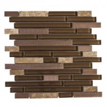 Bronze Age 11.75 in. x 13 in. x 8 mm Glass/Stone/Metal Mosaic Wall Tile