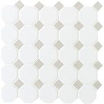 Prologue Matte White 12 in. x 12 in. x 6 mm Glazed Ceramic Octagon/Dot Mosaic Tile