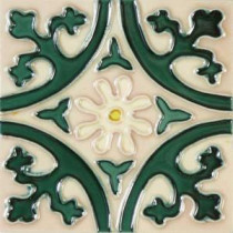 Hand-Painted Jardin Deco 6 in. x 6 in. x 6.35 mm Ceramic Wall Tile (2.5 sq. ft. / case)