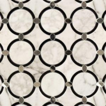 Steppe Aeternum 10-3/4 in. x 10-3/4 in. x 10 mm Polished Marble and Glass Waterjet Mosaic Tile