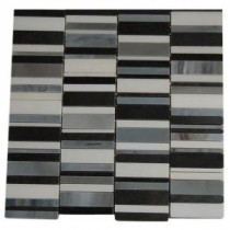Piano Keys Winds of Change 12 in. x 12 in. x 8 mm Marble Mosaic Floor and Wall Tile
