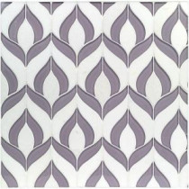 Steppe Lily Polished Marble and Glass Waterjet Mosaic Floor and Wall Tile - 4 in. x 6 in. Tile Sample