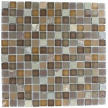 Tectonic Squares Multicolor Slate and Earth Blend 12 in. x 12 in. x 8 mm Glass Mosaic Floor and Wall Tile