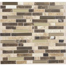 Stone Radiance Morning Sun 11-3/4 in. x 12-1/2 in. x 8 mm Glass and Stone Mosaic Blend Wall Tile