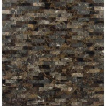 Emperador Splitface 12 in. x 12 in. x 10 mm Marble Mesh-Mounted Mosaic Tile