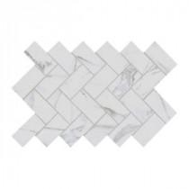 Developed by Nature Calacatta 12 in. x 14 in. x 6 mm Glazed Ceramic Herringbone Mosaic Tile