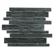 Gemini Black Birch Planks 11-3/4 in. x 11 in. x 6 mm Glass Mosaic Tile