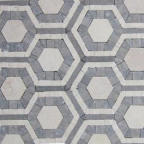 Kosmos Beige and Lagos Azul Hexagon 11-3/4 in. x 11-3/4 in. x 10 mm Polished Marble Mosaic Tile