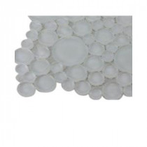Contempo Bright White Circles Glass Tile - 3 in. x 6 in. x 8 mm Tile Sample
