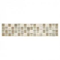 Stone Decorative Gulf Breeze 2-5/8 in. x 12 in. Stone and Glass Accent Wall Tile