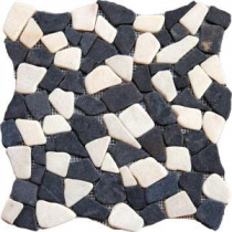 Mixed Flat Pebbles 16 in. x 16 in. Tumbled Marble Floor and Wall Tile (12.46 sq. ft. / case)