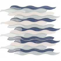 Flow Ocean 11-1/2 in. x 12 in. x 8 mm Glass and Marble Mosaic Tile