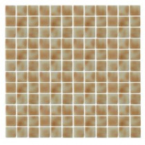 Spongez S-Tan-1407 Mosaic Recycled Glass 12 in. x 12 in. Mesh Mounted Floor & Wall Tile (5 sq. ft. / case)