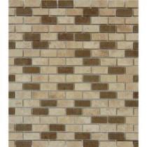 Noce/Chiaro Mini Brick 12 in. x 12 in. x 10 mm Honed Travertine Mesh-Mounted Mosaic Tile