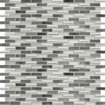 Fashion Accents Nickel Blend 12 in. x 12 in. Glass and Stone Brix Blend Mosaic Wall Tile