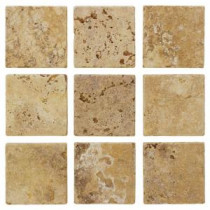 Travertino Gold 4 in. x 4 in. Travertine Floor and Wall Tile