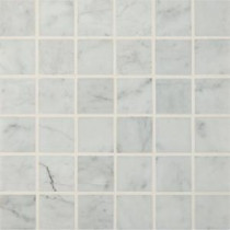 Carrara White 12 in. x 12 in. x 10 mm Polished Marble Mesh-Mounted Mosaic Floor and Wall Tile (10 sq. ft. / case)