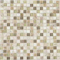 Stone Radiance Mushroom 12 in. x 12 in. x 8 mm Glass and Stone Mosaic Blend Wall Tile