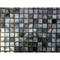 Mother of Pearl Deep Ocean Gray Squares Pearl Shell Mosaic Floor and Wall Tile - 3 in. x 6 in. Tile Sample
