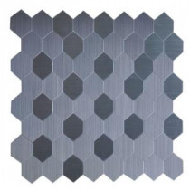 Instant Mosaic Honeycomb 12 in. x 12 in. x 5 mm Peel and Stick Brushed Stainless Metal Mosaic Tile