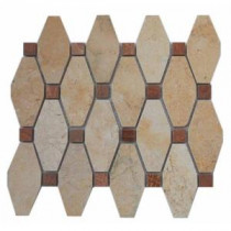 Artois PatternJerusalem Gold with Wood Onyx Dot 10.25 in. x 11.75 in. x 5 mm Mosaic Marble Floor and Wall Tile