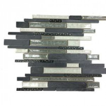 Olive Branch Black 11-3/4 in. x 11-3/4 in. x 10 mm Slate Glass and Stone Mosaic Tile