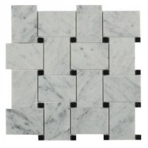 Orchard White Carrera with Black Dot 11 in. x 11 in. x 10 mm Marble Mosaic Tile