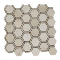 Ambrosia Crema Marfil and Light Emperador 12 in. x 12 in. x 8 mm Stone Mosaic Floor and Wall Tile