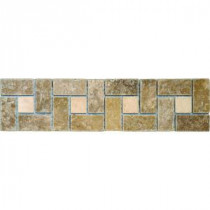 Noche Chiaro Basket Weave 3 in. x 12 in.Travertine Listello Floor and Wall Tile