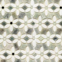 Steppe Mutisia White Thassos and Ming Green Marble Waterjet Mosaic Floor and Wall Tile - 3 in. x 6 in. Tile Sample
