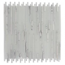 Tetris Stylus Carrara Ice Pattern 12 in. x 12 in. x 8 mm Glass Mosaic Floor and Wall Tile