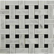 Yarn Threaded Onyx 12-1/2 in. x 12-1/2 in. x 10 mm Polished Marble Mosaic Tile
