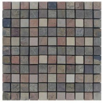 Mixed 12 In. x 12 In. x 10 mm Tumbled Slate Mesh-Mounted Mosaic Tile