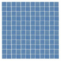 Oceanz O-Blue-1721 Mosiac Recycled Glass Anti Slip Mesh Mounted Floor and Wall Tile - 3 in. x 3 in. Tile Sample