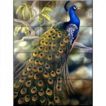 Peacock 18 in. x 24 in. Ceramic Mural Wall Tile