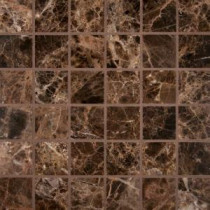 Emperador Dark 12 in. x 12 in. x 10 mm Polished Marble Mesh-Mounted Mosaic Tile (10 sq. ft. / case)