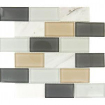 Glacier Peak Subway 12 in. x 12 in. x 8 mm Glass Stone Mesh-Mounted Mosaic Tile