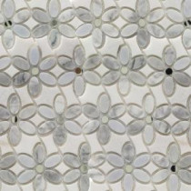Steppe Mutisia White Carrera and White Thassos 11-1/2 in. x 12 in. x 8 mm Polished Marble Waterjet Mosaic Tile