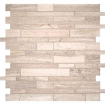 White Quarry Interlocking 12 in. x 12 in. x 10 mm Honed Marble Mesh-Mounted Mosaic Wall Tile (10 sq. ft. / case)