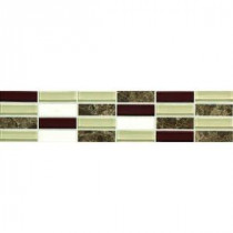 Stone Decorative Accents Cohiba Illusion 2-5/8 in. x 12 in. Marble and Glass Accent Tile