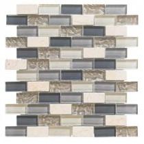 Cedar Cove 12 in. x 12 in. x 8 mm Glass Travertine Mosaic Wall Tile