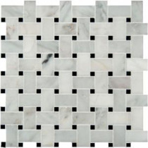 Greecian White Basketweave 12 in. x 12 in. x 10 mm Honed Marble Mesh-Mounted Mosaic Tile (10 sq. ft. / case)